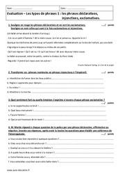 Types de phrases – Examen Evaluation sur les phrases- Fiches déclaratives, injonctives, exclamatives. : 6eme Primaire