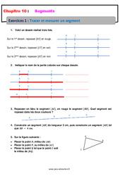 Tracer et mesurer un segment – Révisions – Exercices avec correction : 6eme Primaire