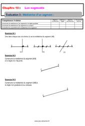 Médiatrice d'un segment – Examen Evaluation avec la correction : 6eme Primaire