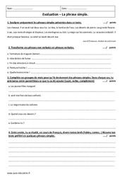 Phrase simple – Examen Evaluation à imprimer : 6eme Primaire