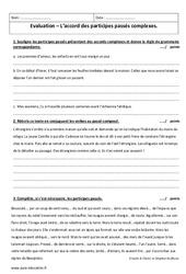 Accord des participes passés complexes – Examen Evaluation à imprimer : 1ere Secondaire