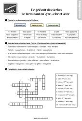 Exercices, révisions sur le présent de l'indicatif  des verbes qui se terminent par en « – yer »  et « – eter ou – eler » –  avec la correction : 5eme Primaire