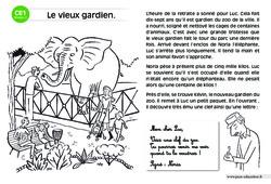 Le vieux gardien – Lecture compréhension – Histoire illustrée – Niveau 2 : 2eme Primaire