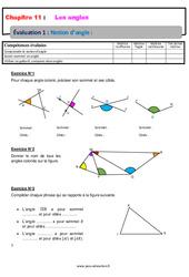 Notion d'angle – Examen Evaluation avec la correction : 6eme Primaire