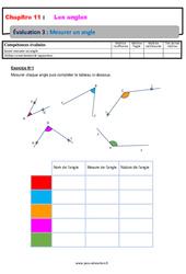 Mesurer un angle – Révisions – Examen Evaluation avec correction : 6eme Primaire