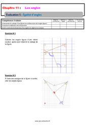 Égalité d'angles – Révisions – Examen Evaluation avec correction : 6eme Primaire