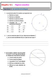 Le cercle et le disque – Révisions – Exercices avec correction sur les figures usuelles : 6eme Primaire