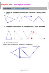 Les triangles particuliers – Révisions – Exercices avec correction sur les figures usuelles : 6eme Primaire