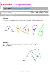 Les triangles particuliers – Examen Evaluation avec la correction sur les figures usuelles : 6eme Primaire