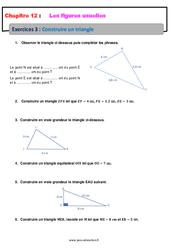 Construire un triangle – Révisions – Exercices avec correction sur les figures usuelles : 6eme Primaire