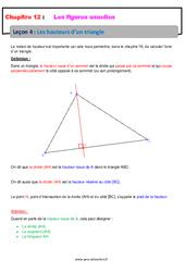 Les hauteurs d'un triangle – Cours sur les figures usuelles : 6eme Primaire