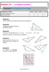 Les hauteurs d'un triangle – Examen Evaluation avec la correction sur les figures usuelles : 6eme Primaire