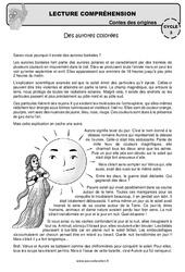 Des aurores colorées – Lecture compréhension – Contes des origines – Questionnaire : 4eme, 5eme Primaire