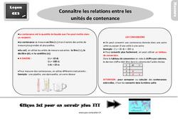 Leçon, trace écrite sur connaître les relations entre les unités de contenance au  : 3eme Primaire