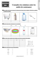 Exercices, révisions sur connaître les relations entre les unités de contenance au  avec les corrections : 3eme Primaire