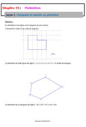 Comparer et calculer un périmètre – Cours : 6eme Primaire