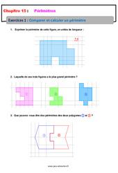 Comparer et calculer un périmètre – Révisions – Exercices avec correction : 6eme Primaire
