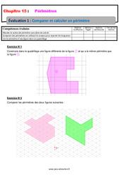Comparer et calculer un périmètre – Examen Evaluation avec la correction : 6eme Primaire