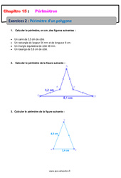 Périmètre d'un polygone – Révisions – Exercices avec correction : 6eme Primaire