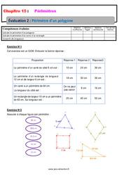 Périmètre d'un polygone – Examen Evaluation avec la correction : 6eme Primaire