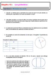 Périmètre du cercle – Révisions – Exercices avec correction : 6eme Primaire