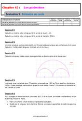 Périmètre du cercle – Examen Evaluation avec la correction : 6eme Primaire
