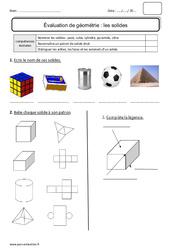 Solides – Bilan – pavé, cube, cylindre, pyramide, cône : 2eme Primaire
