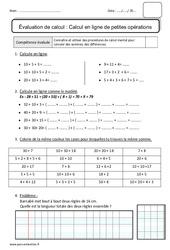 Calcul en ligne de petites opérations – Bilan : 2eme Primaire