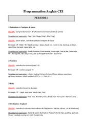 Programmation Annuelle – Anglais – Progressions – Toutes les périodes : 2eme Primaire
