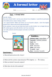 A formal letter – Anglais – Lecture – Level 4 : 4eme, 5eme Primaire