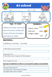 At school – Anglais – Lecture – Level 1 : 2eme, 3eme, 4eme, 5eme Primaire