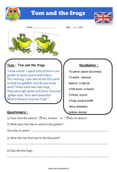 Tom and the frogs – Anglais – Lecture – Level 3 : 4eme, 5eme Primaire