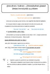 Style direct et indirect – Verbes introductifs au présent – Cours : 3eme Secondaire
