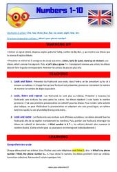 Numbers 1 to 10 – Anglais – Lexique – Séquence complète : 4eme, 5eme Primaire