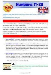 Numbers 11 to 20 – Anglais – Lexique – Séquence complète : 2eme, 3eme Primaire