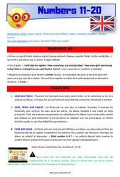 Numbers 11 to 20 – Anglais – Lexique – Séquence complète : 4eme, 5eme Primaire
