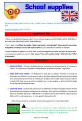 School supplies – Anglais – Lexique – Séquence complète : 2eme, 3eme Primaire