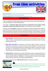 Free time activities – Anglais – Lexique – Séquence complète : 4eme, 5eme Primaire