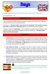 Days of the week – Anglais – Lexique – Séquence complète : 2eme, 3eme Primaire