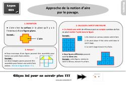 Leçon, trace écrite sur l'approche des unités d'aire par le pavage au  : 3eme Primaire