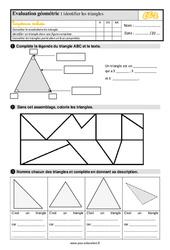 Évaluation, bilan sur identifier les triangles au  avec la correction : 3eme Primaire