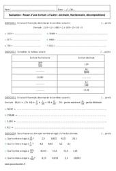 Passer d'une écriture à l'autre – Décimale, fractionnaire – Examen Evaluation : 6eme Primaire