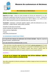 Les mesures de contenance et décimaux – SEGPA – EREA – Décrochage scolaire : 4eme, 5eme, 6eme Primaire