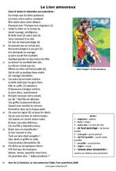 Le Lion amoureux – Lecture – poésie : 6eme Primaire