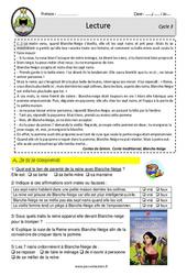 Blanche – Neige et les sept nains – Lecture – EDL – Décrochage scolaire : 4eme, 5eme, 6eme Primaire