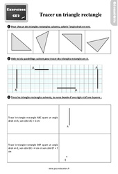 Exercices, révisions sur tracer un triangle rectangle au  avec les corrections : 3eme Primaire