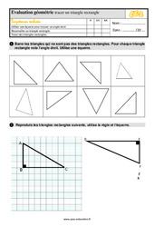 Évaluation, bilan sur tracer un triangle rectangle au  avec la correction : 3eme Primaire