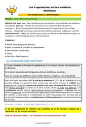 Les 4 opérations sur les nombres décimaux – SEGPA – EREA – Décrochage scolaire : 4eme, 5eme, 6eme Primaire