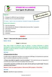 Les types de phrases – Étude de la langue – Fiche de préparation : 3eme Primaire