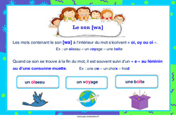 Le son [wa] –  au  – Affiche : Primaire – Cycle Fondamental